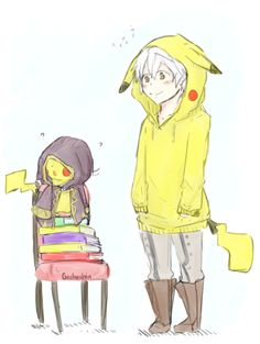 Robin with a Pikachu clothes and Pikachu with Robin's Outfit.