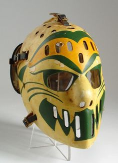 Hi Hockey Fans Here is a beautiful reproduction Goalie Mask - Dave Dryden WHA Chicago Cougars Several fiberglass masks replicas of your heroes of the years 1960's to the early 80's in the NHL and WHA! Dryden, Cheevers, Vachon, Giacomin, Gilbert, Esposito, Plante, Rutherford and others. Exceptional items for collectors. The masks are very strong and manufactured with 8 layers of fiberglass and epoxy resin but are not recommended for play. Display only. See photos of actual mask and photos of… Hockey Goalie Gear, Hockey Players, Hockey Helmet, Montreal Canadiens, Nhl, Goalie Pads, Lacrosse Quotes, Masked Man, National Hockey League