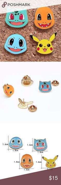 Set of 4 Pokemon Pin Set, Pikachu Bulbasaur Etc This Pokemon Go enamel pin set consists of a Pikachu, a Squirtle, a Charmander and a Bulbasaur.  The dimensions for each pin are approx. 16 mm - 21 mm. Pokemon Jewelry Brooches