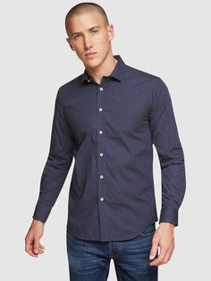KENTON SPOT PRINTED SHIRT   BLUE PRINT - Oxford Shop Mens Trousers Casual, Trouser Suits, Men Casual, Oxford Online, Polo Tees, Slim Man, Workwear, Workout Shirts, Mens Suits