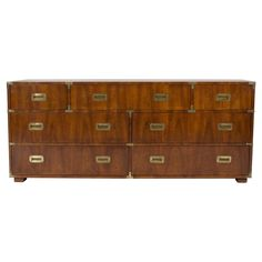 Mid 20th C Mahogany Campaign Style Dresser or Sideboard | From a unique collection of antique and modern commodes and chests of drawers at https://www.1stdibs.com/furniture/storage-case-pieces/commodes-chests-of-drawers/