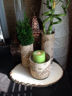 Covering the vases with burlap