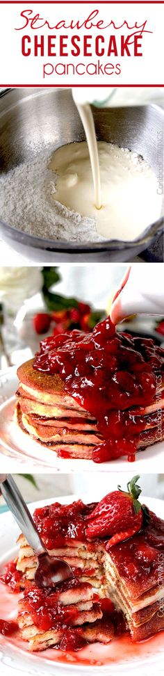Easy Strawberry Cheesecake Pancakes = cheesecake filling + pancake dry ingredients + fresh strawberry syrup = cheesecake for breakfast!