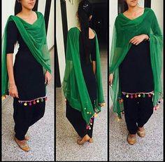 http://www.getstyleathome.com/ #getstyleathome #punjabisuit #blackgreensuit