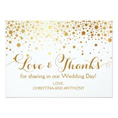 Confetti Gold Foil Wedding Thank You Note Card - wedding invitations diy cyo special idea personalize card