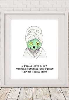 Facial Mask cat watercolor painting illustration by NotMuchToSay