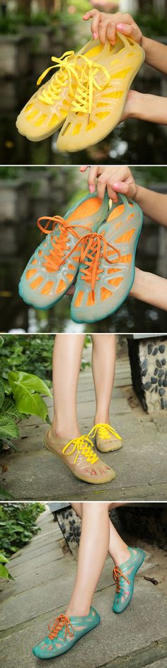 US$12.74 Jelly Hollow Out Lace Up Transparent Soft Light Beach Shoes_Beach Sandals For Women_Colorful Summer Shoes