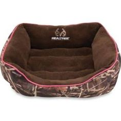 Realtree Small Camo Box Pet Bed With Pink Border/brown Interior