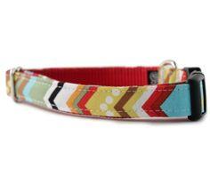 Chevron Dog Collar - Rainbow Chevron Dog Collar - Multi-colored Chevron Dog Collar - Adjustable Dog Collar - FREE SHIPPING
