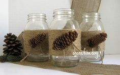 With Spring just around the corner I thought it fitting to re list my Mason Jars in my Esty Shop. I decorate my Mason Jars with Burlap, Sati. Burlap Mason Jars, Mason Jar Centerpieces, Centerpiece Decorations, Mason Jar Crafts, Balloon Decorations, Burlap Decorations, Wedding Decorations, Birthday Party Centerpieces, Thanksgiving Centerpieces