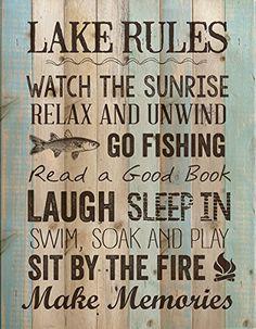 P. Graham Dunn ''Lake Rules'' 15.5'' x 12'' Distressed Wood Wall Plaque P Graham Dunn http://www.amazon.com/dp/B011RPX99K/ref=cm_sw_r_pi_dp_zoFYwb086BZ9J
