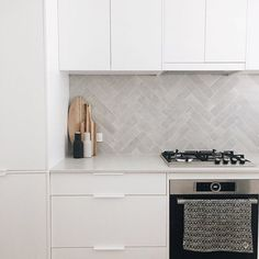 Repost ・・・wow our memory Mood sheer tiles look amazing on a splashback in herringbone . Thanks for the post… Grey Kitchen Tiles, Kitchen Splashback Tiles, Splashback Ideas, Open Plan Kitchen Living Room, Home Decor Kitchen, Kitchen Interior, Kitchen Ideas, Kitchen Design Gallery, Modern Kitchen Design