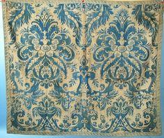1920-MARIANO-FORTUNY-FABRIC-PANEL-INDIGO-W-PARCHMENT-OVERLAY-LG-DESIGN-TRIM-EDGE $1175