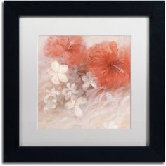 Trademark Fine Art Hibiscus II Canvas Art by Li Bo, White Matte, Black Frame, Size: 16 x 16, Multicolor