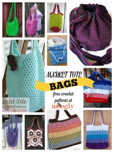 To Market to Market… to Crochet Free Market Tote Bag Patterns! It's nearly fa. To Market to Market… to Crochet Free Market Tote Bag Patterns! It's nearly farmer's market s Bag Crochet, Crochet Market Bag, Crochet Gratis, Crochet Handbags, Crochet Purses, Free Crochet, Moogly Crochet, Crochet Backpack, Crochet Round