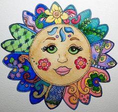 zentangle with color Zen Doodle, Doodle Art, Sun Moon, Stars And Moon, Ying Y Yang, Good Day Sunshine, Sun Art, Doodles Zentangles, Doodle Drawings