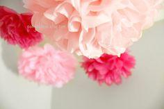 It's a Girl - 5 Poms - Pink Wedding Decor - Christening - Girl Birthday Decor - Bridal Shower-Ceremony Decor