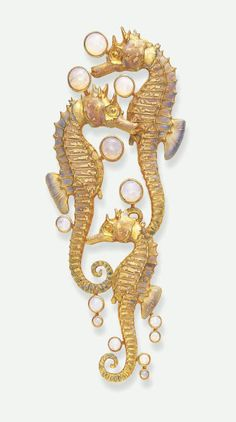 Art Nouveau Opal and Enamel Brooch, BY Rene Lalique - Comprising three sculpted opalescent enamelled sea horses, enhanced by effervescing cabochon opal bubbles, mounted in gold, circa Lalique Jewelry, Opal Jewelry, Jewelry Art, Vintage Jewelry, Fine Jewelry, Jewelry Design, Gold Jewelry, Jewellery, Zipper Jewelry