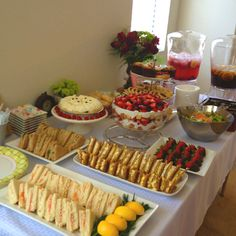 Bridal Tea Party: sandwich with Shredded carrots and fruit layers with cool whip. - Bridal Tea Party: sandwich with Shredded carrots and fruit layers with cool whip, quiche - Fruit Party, Snacks Für Party, Fruit Fruit, Party Recipes, Party Party, Brunch Recipes, Fruit Salad, Party Food Buffet, Food Menu