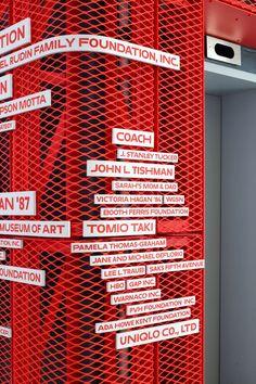 Parsons School of Design Donor Wall — Pentagram Wayfinding Signage, Signage Design, Environmental Graphics, Environmental Design, Donor Wall, Sign System, Parsons School Of Design, Custom Fonts, Retail Design
