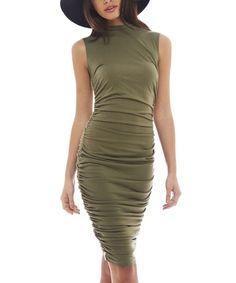 AX Paris Women's High Neck Rouche Kahki Dress(Kakhi, This high neck midi dress with rouche detailing is a killer way to turn heads. Short Long Dresses, Formal Dresses, Khaki Green Dress, Sheath Dress, Bodycon Dress, Suits For Women, Autumn Fashion, Fashion Outfits, Paris