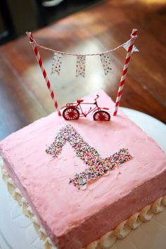 Love the idea of using sprinkles instead of a candle for the birthday cake. Grab a cookie cutter to outline the number and fill with colorful sprinkles #BirthdayParty
