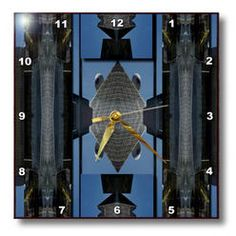 3dRose - Jos Fauxtographee Abstract  - The Brain Building in Vegas Manipulated and Put in Metal Shapes - Wall Clocks