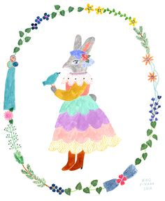The lighthearted illustrations of Aiko Fukawa are especially timely right now, with Easter being the most whimsical of holidays. Art And Illustration, Poster Prints, Art Prints, Freelance Illustrator, Whimsical Art, Illustrators, Folk Art, Art Drawings, Watercolor Art