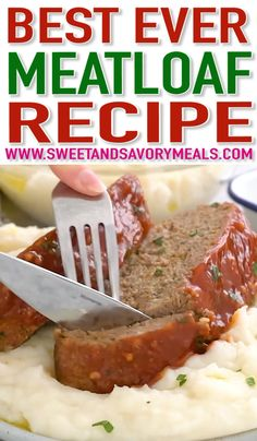 Meatloaf Recipe that is flavorful and juicy on the inside, with a delicious glaze spread on the outside. recipes Best Meatloaf Recipe (Video) - Sweet and Savory Meals Meatloaf Recipe Video, Meat Loaf Recipe Easy, Meat Recipes, Cooking Recipes, Healthy Recipes, Meatloaf Recipe No Bread Crumbs, One Pound Meatloaf Recipe, Healthy Meatloaf Recipes, Homemade Meatloaf
