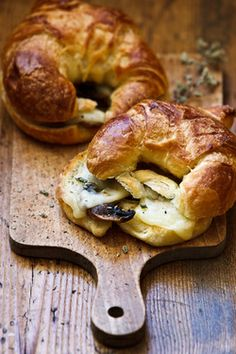 croissants with mushrooms, artichoke hearts, herbs and goat cheese