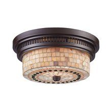 View the ELK Lighting 66431-2 Chadwick Two-Light Flushmount Ceiling Fixture in Oiled Bronze Finish with Cappa Shell Shade at LightingDirect.com.