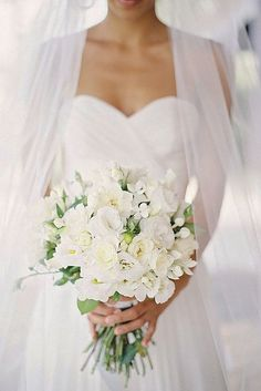 18 All White Wedding Bouquets Inspiration ❤ See more: http://www.weddingforward.com/white-wedding-bouquets-inspiration/ #weddings #bouquet