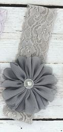 Gray Lace Baby Headband
