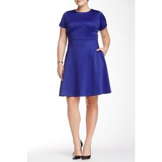 Julia Jordan Short Sleeve Fit & Flare Dress (Plus Size) ($70) ❤ liked on Polyvore featuring plus size women's fashion, plus size clothing, plus size dresses, plus size, purple, plus size short sleeve dresses, womens plus dresses, white dress, short sleeve fit and flare dress and white fit and flare dress