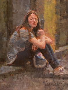 Young Woman Sitting on a Step by James Crandall in the FASO Daily Art Show Painting People, Figure Painting, Animal Movement, Hyper Realistic Paintings, Modern Paintings, Painting Competition, Southwest Art, Impressionist Paintings, Klimt