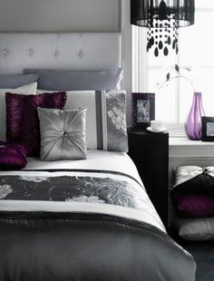 Vintage black, white and silver bedroom with a bit of purple. Love this.