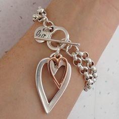 Open heart and mini heart double chain bracelet, two tone