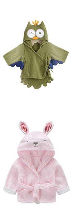 BLAU GRUN Women's Unsex Baby Toddler Fleece Hooded Bath robe Cute Bathrobes Pink Rabbit