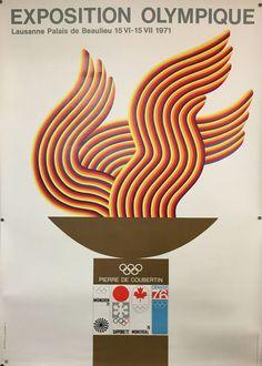 VAUD LAUSANNE Exposition Olympique Pierre de Coubertin Lausanne 1971 Lausanne, Vintage Posters, Switzerland, Design, Radiation Exposure, Posters, Travel, Cards, Poster Vintage