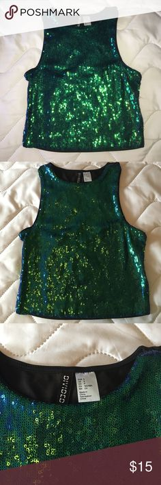 DIVIDED for H&M Sequin Crop Tank NEW without tags this blue-green Sequin tank is perfect for a fun night out. A true size small, 34-36 Bust max. No modeling, no trades. Divided Tops Crop Tops