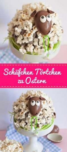 Schäfchentörtchen mit Popcorn zu Ostern Cute sheep tartlet for Easter. A Gugelhupf is hidden under the popcorn, which should not be missing on the Easter table. Easter Cupcakes, Easter Cookies, Bon Dessert, Dessert Recipes, Popcorn, Sheep Cake, Desserts Ostern, Cute Sheep, Easter Table