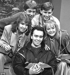 """File photo dated of members of the cast of children's TV series """"Grange Hill"""" (clockwise from left) Susan Tully, John McMahon, Mark Baxter, Alison Bettles and Todd Carty 1970s Childhood, My Childhood Memories, Sweet Memories, Brigitte Auber, Todd Carty, Big Country, Kids Tv Shows, Vintage Tv, Classic Tv"""