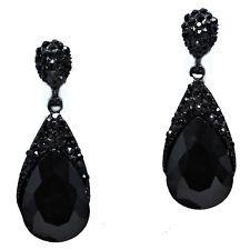 Black Diamante Teardrop Earrings Sparkly Rhinestone Prom Bridal Jewellery 0229