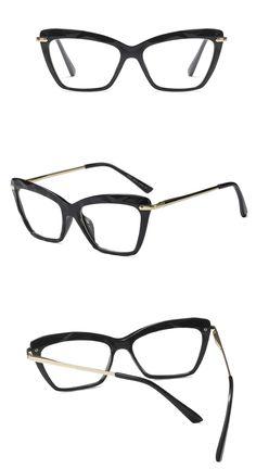 305b794278633 Cat eye transparent glasses frame for women designer pink brown black 2018  fashion eyeglasses frames square