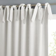 'Linus' Lined Linen Tie Top Curtain- white- 140X260CM, white,beige,green
