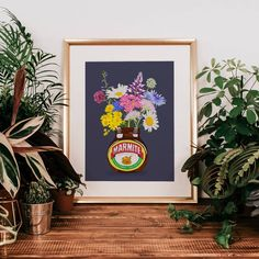 Marmite Wildflowers Illustration Print – And so to Shop Marmite, Hand Illustration, New Home Gifts, Wildflowers, Watercolor Paper, Order Prints, Biodegradable Products, Giclee Print, Gallery Wall