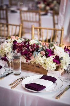 Wine-Box Wedding Centerpiece With Grapes   Wine country wedding centerpiece ideas