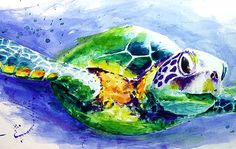 Green sea turtle painting Watercolor turtle wall by SignedSweet