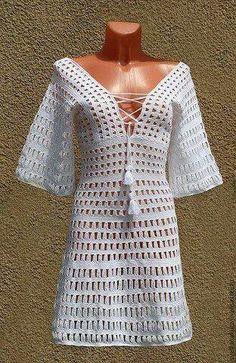 Fabulous Crochet a Little Black Crochet Dress Ideas. Georgeous Crochet a Little Black Crochet Dress Ideas. Crochet Cover Up, Crochet Top, Crochet Cardigan, Knit Dress, Parte Superior Del Bikini, Mode Crochet, Beach Attire, Summer Knitting, Crochet Woman