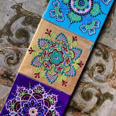 Henna style mandalas.  Acrylic paint on mini canvases by Henna on Hudson